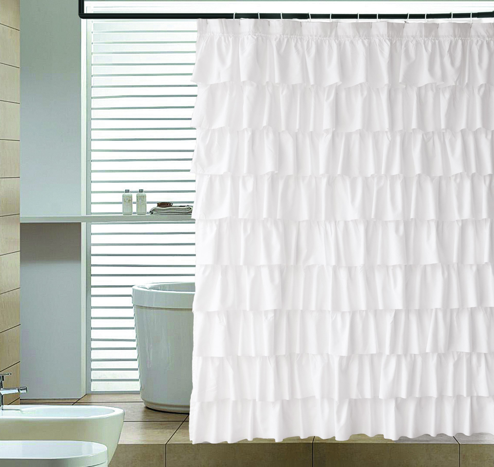 Ameritex Ruffle Shower Curtain Waterproof Home Decor | Soft Polyester, Decorative Bathroom Accessories | Great for Showers & Bathtubs |Large Size,72'' x 72''