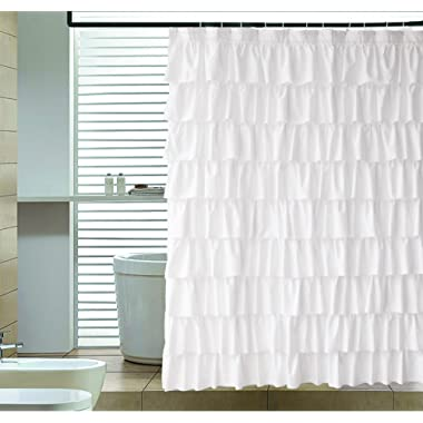 Ameritex Ruffle Shower Curtain Fabric | Soft Polyester, Decorative Farmhouse Bathroom Accessories, Elegant, Classic | Great for Showers & Bathtubs |Large Size, White 72  x 72