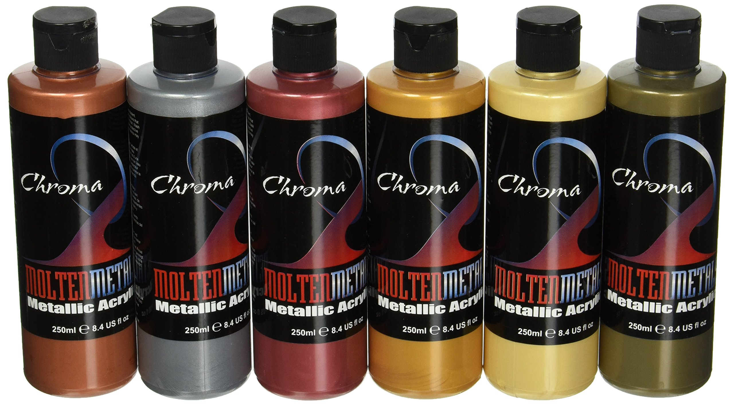 Chroma Molten Metals Acrylic Paint Set, 8.4 oz Bottle, Assorted Color, Set of 6 - 1442894 by Chroma