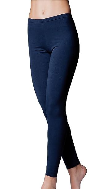 14f88accdb JADEA Leggings Donna Cotone Elasticizzato - Disponibile nei Colori Bianco,  Nero, Blu e Grigio