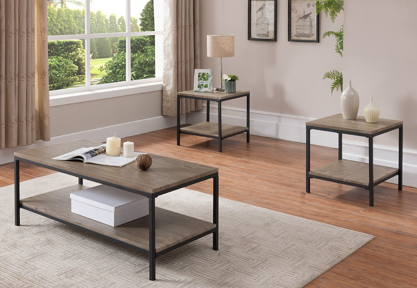 Kings Brand 3 Piece Gray / Black Occasional Table Set, Coffee Table & 2 End Tables by Kings Brand Furniture (Image #1)