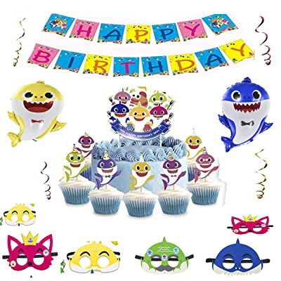 Baby Shark Party Supplies - Baby Shark Birthday Decorations - Baby Shark Balloons With 1 Big Cake topper 24 Cupcake toppers 6 Shark Masks and 1 Happy Birthday Banner for Cake Decor/Baby Shower/Kids Birthday Party: Toys & Game