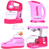 Fun Little Toys Home Mini Appliances Kitchen Kettle Pot Coffee Maker Mixer Juicer Set Batteries Included