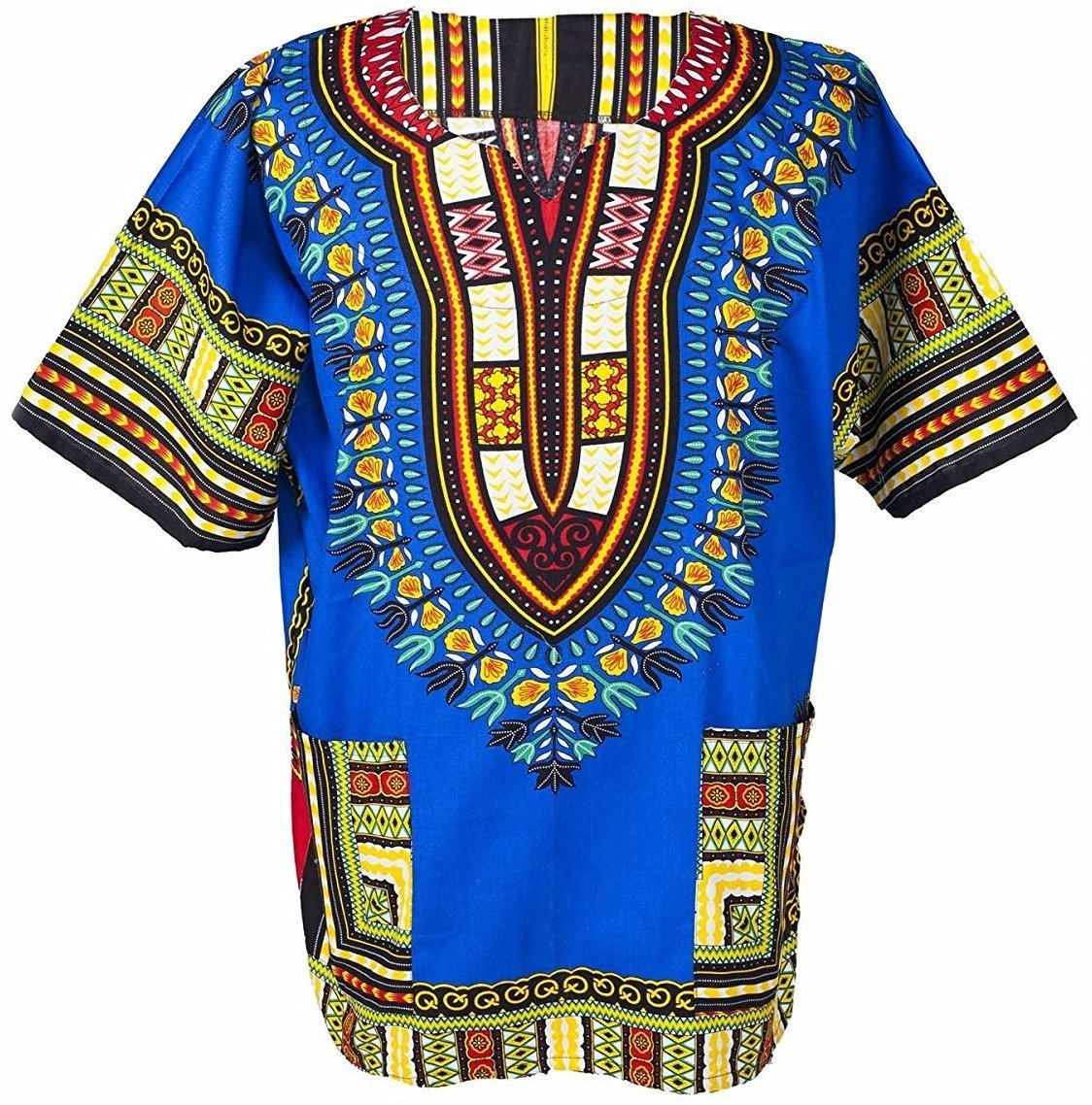 Traditional African Dashiki Cotton Shirt – Tribal Hippie Style- Variety Colors Perfect for Festival- Craft Clothes -Mens, Womens, Unisex (X-Large, Blue)