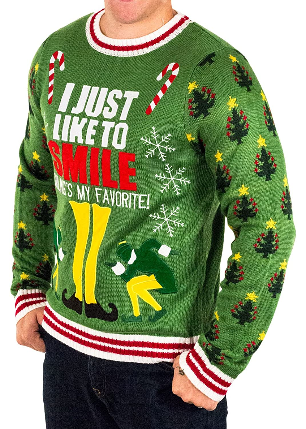 Men's Elf Smiling's My Favorite Ugly Christmas Sweater in Green By ...
