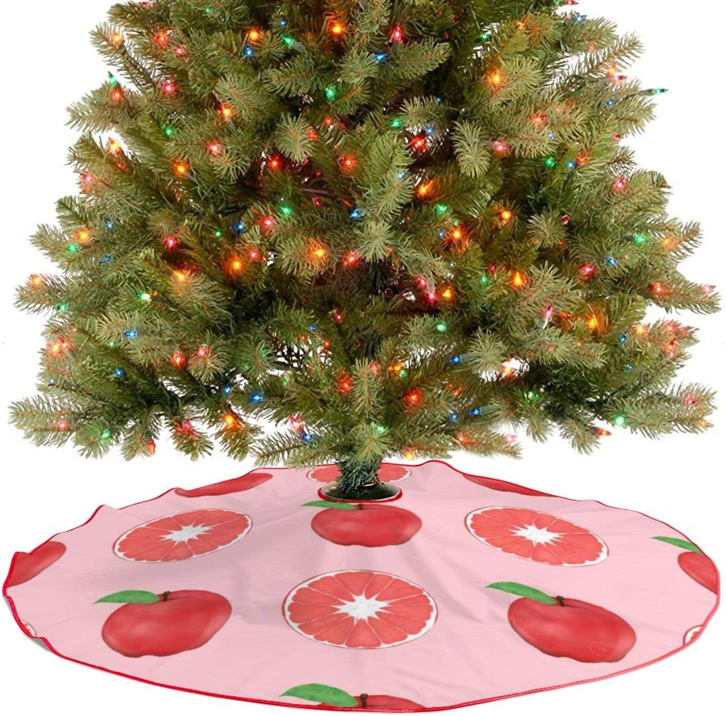 Amidaky Summer Pink Apples and Grapefruits Pattern Christmas Tree Skirt for Christmas Decorations Indoor Outdoor 48''×48''