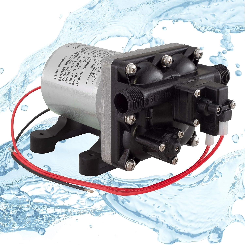 RecPro RV Water Pump Shurflo 4008-101-A65 3.0 GPM | 12V Water Pump | Self-Prime | Camper Water Pump | RV Plumbing (1 Pump)