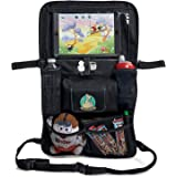 Backseat Car Organizer for Kids, Baby's & Toddlers by BabySeater. Tablet iPad DVD Holder, Wet Wipes Tissue Compartment Stretchy Storage Pockets. Kick Mat Seat Back Protector - MOTHERS DAY GIFT
