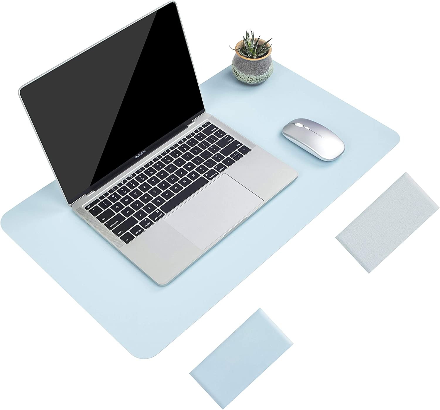 "Non-Slip Desk Pad, Waterproof PVC Leather Desk Table Protector, Ultra Thin Large Mouse Pad, Easy Clean Laptop Desk Writing Mat for Office Work/Home/Decor(Sky Blue, 23.6"" x 13.7"")"