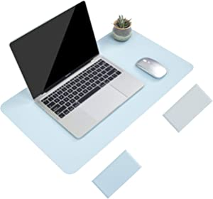 """Non-Slip Desk Pad, Waterproof PVC Leather Desk Table Protector, Ultra Thin Large Mouse Pad, Easy Clean Laptop Desk Writing Mat for Office Work/Home/Decor(Sky Blue, 23.6"""" x 13.7"""")"""