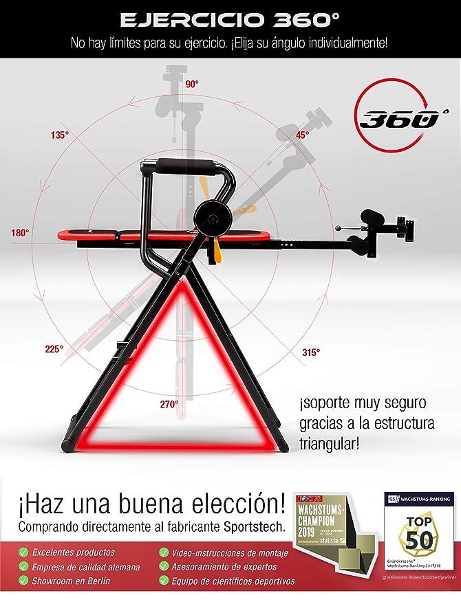 Sportstech IT300 innovadora Tabla de inversión Plegable Multifuncional 6 en 1 - Sistema Inteligente de Palanca giratoria, Ejercicio 360°, Incl. Correa ...