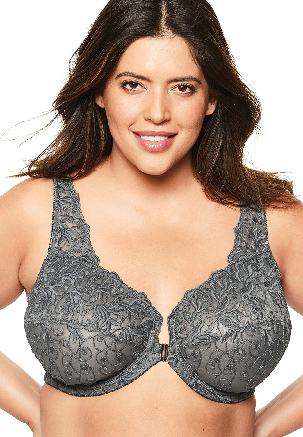Amoureuse Womens Plus Size Embroidered Front-Close Underwire Bra