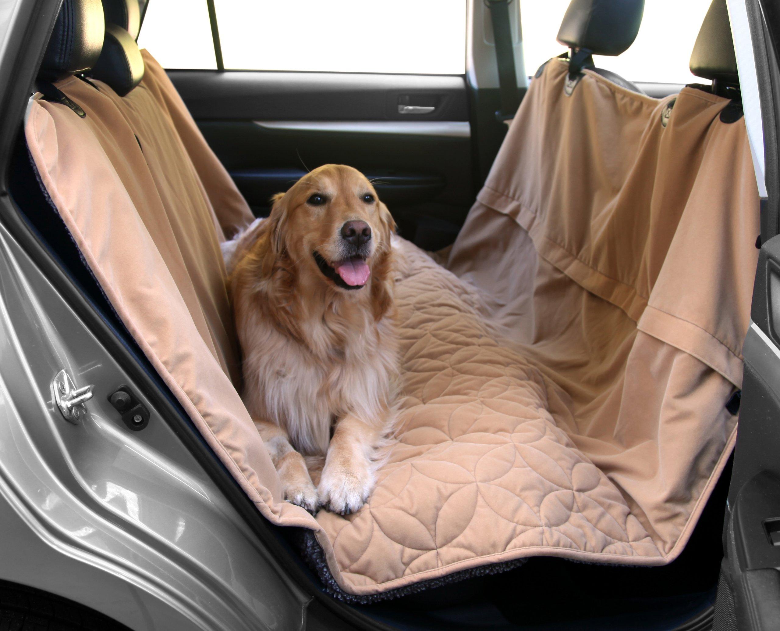 "Floppy Ears Design Waterproof Microfiber Zippered Pet Hammock Seat Cover, Tan, Large 62"" W (across the seats) x 75"""