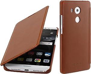 StilGut Book Type Case Senza Clip, Custodia in Pelle per Huawei Mate 8 & Mate 8 Dual SIM con Funzione Smart Cover, Cognac