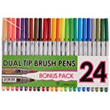 Immersive Color Dual Tip Brush Pens with Fineliner Tip (Pack of 24)