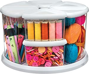 Deflecto Rotating Carousel Craft Storage Organizer, 9-Canister Configuration Includes 3