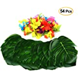 """PovKeever 54 Pieces 8"""" Tropical Palm Leaves and Hibiscus Flowers, Simulation Imitation Leaf for Table Party Hawaiian Luau Party Jungle Beach Theme Party Decorations"""