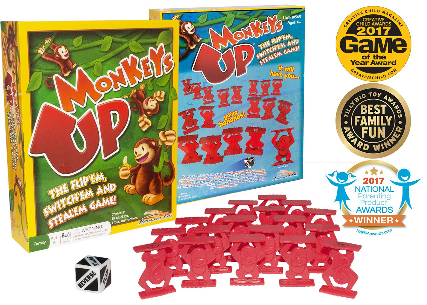 Children or Adults 6 Years and Up RoosterFin Monkeys Up Family Board Game Kids Learn Strategy Math Teacher Created Educational Fun for All Ages Social Skills and Improve Memory