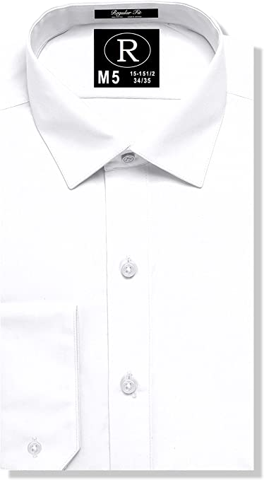 Real Cotton de los hombres Regular Fit Camisa de vestir o la camisa del smoking 100% algodón, Corre Collar Estilo Kent