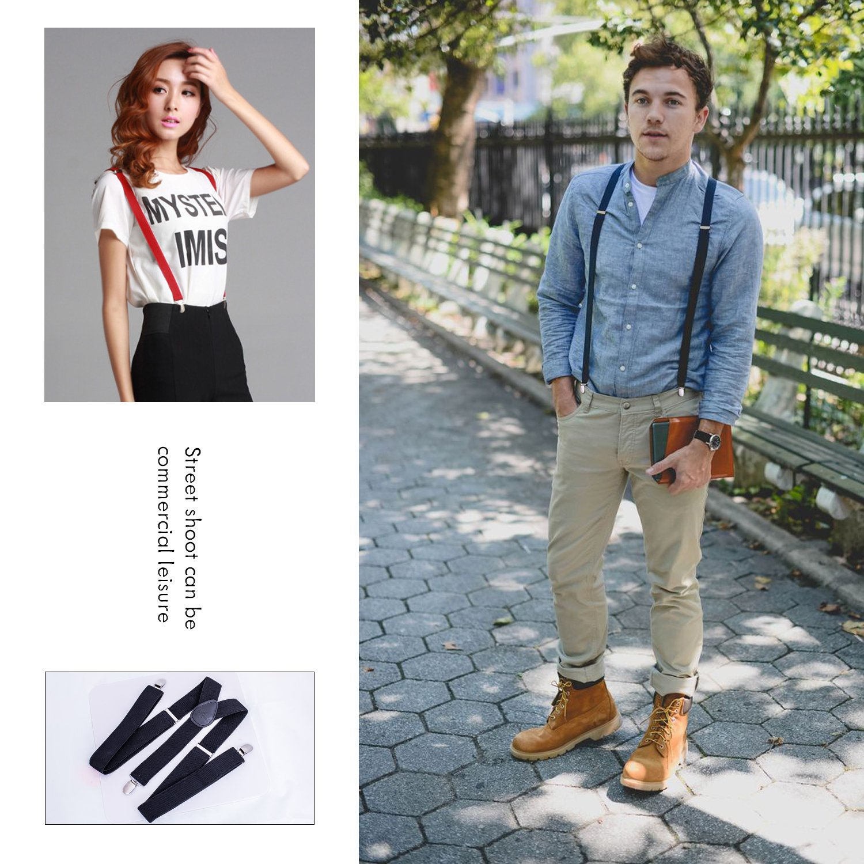 Star Men Suspenders adjustable strap Y 1.4\'\' Wide for Mens Height 5\' ~6\