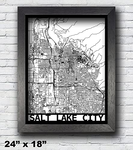 Amazon.com: Salt Lake City, Utah Laser Cut Map, 3D Street Map, 24x18 ...