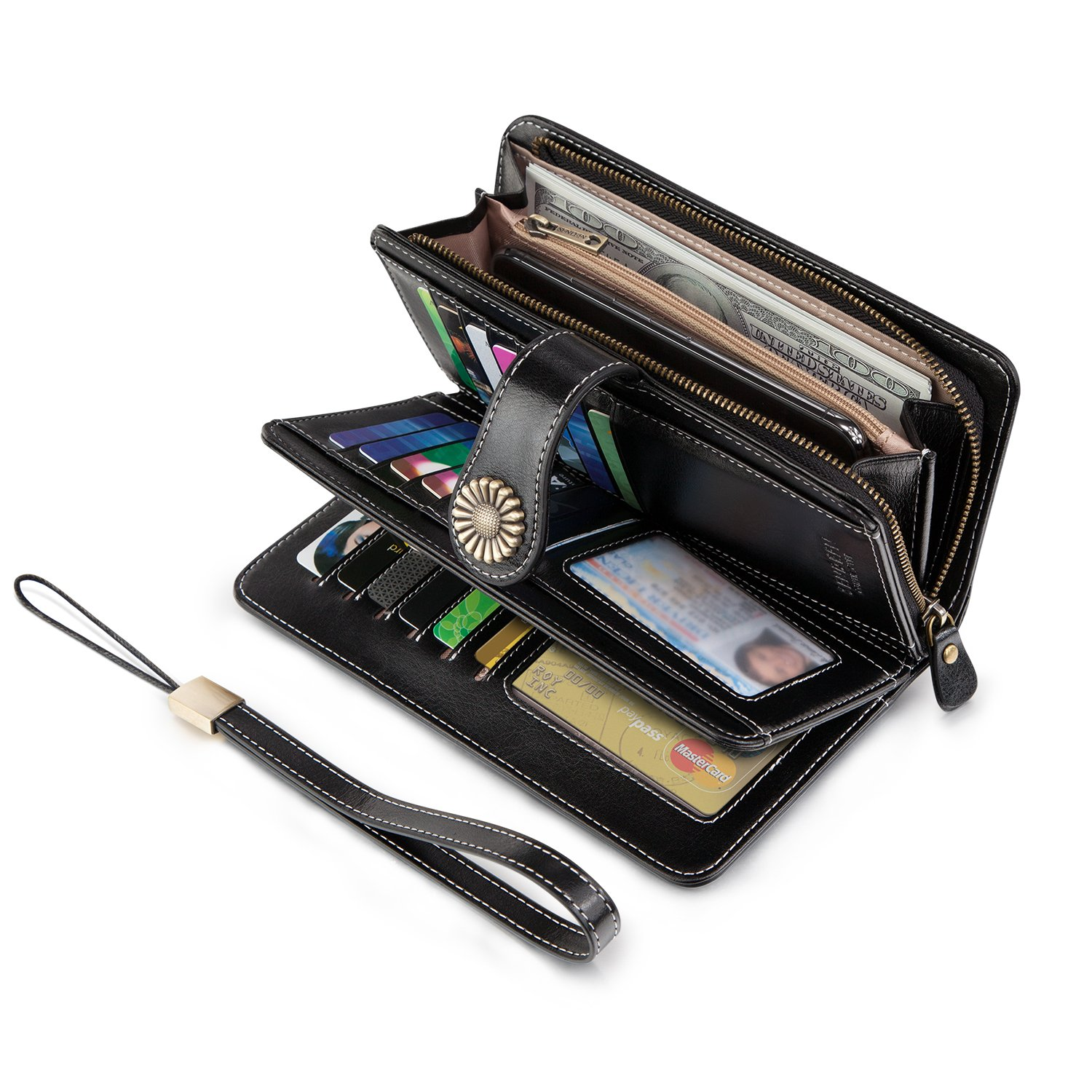 UMODE Vintage Style Genuine Leather Large Capacity Wallet Organizer for Women (Black Color)