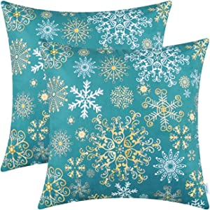 CaliTime Pack of 2 Cozy Fleece Throw Pillow Cases Covers for Couch Bed Sofa Christmas Snowflakes Both Sides 20 X 20 Inches Teal