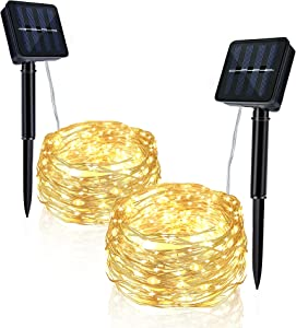 JWTPRO LED String Lights 2 Pack Each 33 FT 100 Lamp Beads Solar powered Outdoor Waterproof, Fairy Lights, Decoration Copper Wire Lights for Patio Yard Trees Christmas Wedding Party Decor (Warm White)