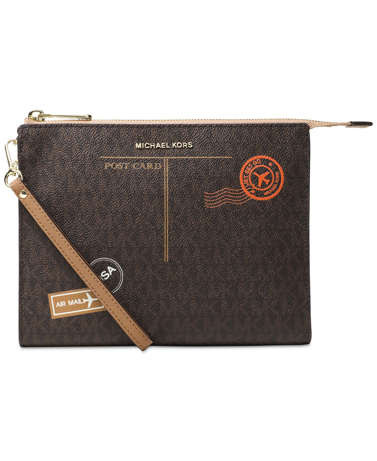 MICHAEL Michael Kors Signature Mail Large Box Travel Pouch, Brown/Cashew by Michael Kors