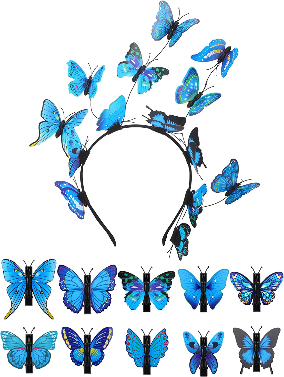 Butterfly Women Hair Band Hoop Headband Hat and 10 Pieces Butterfly Hair Clips for Halloween Costume Accessories Butterfly Photo Props