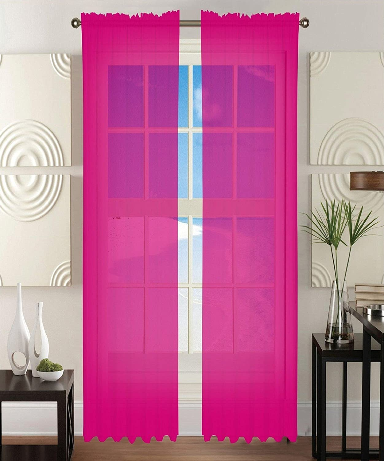 Sheer light pink curtains - Amazon Com 2 Piece Solid Hot Pink Sheer Window Curtains Drape Panels Treatment 60 W X 84 1 Home Kitchen