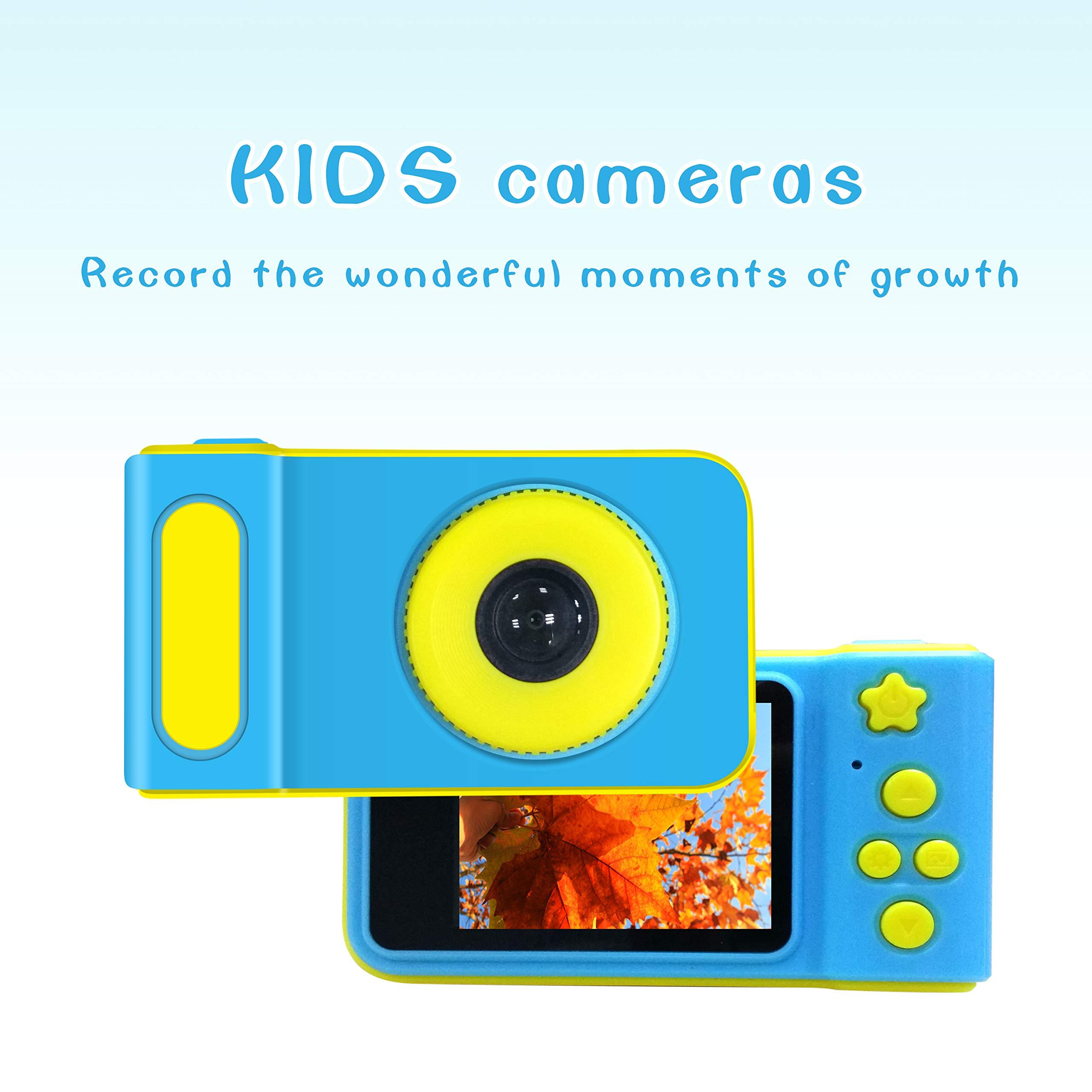 Kids Digital Camera Mini 2 Inch Screen Children Camera 1080 HD Digital Camera Free with 16G TF Card , Toys Camera for Boys Girls Birthday Gift- Blue by MJKJ (Image #1)