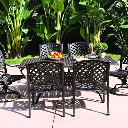 Amazon Com Darlee Nassau 6 Person Cast Aluminum Patio Dining Set