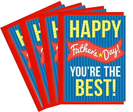 Amazon tiny expressions happy fathers day greeting cards with tiny expressions happy fathers day greeting cards with envelopes multipack blue stripe 4 pack m4hsunfo