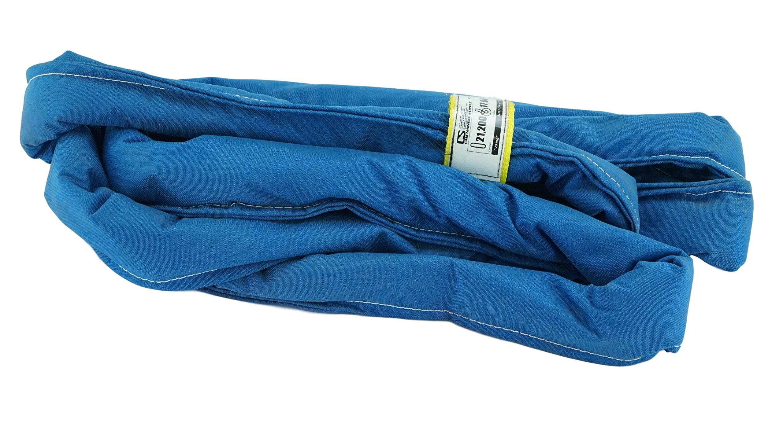 USA Made VR7 X 8' Blue Slings 8'-20' Lengths In Listing, DOUBLE PLY COVER Endless Round Poly Lifting Slings, 21,200 lbs Vert, 17,000 lbs Choker, 42,400 lbs Basket (USA Polyester) (8 FT) by Chenango Supply