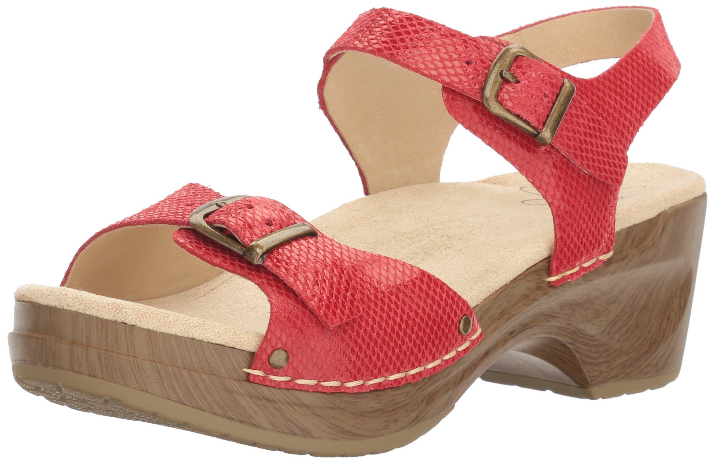 Sanita Women's Davia Platform Sandal, Red Snake, 39 EU/8/8.5 M US