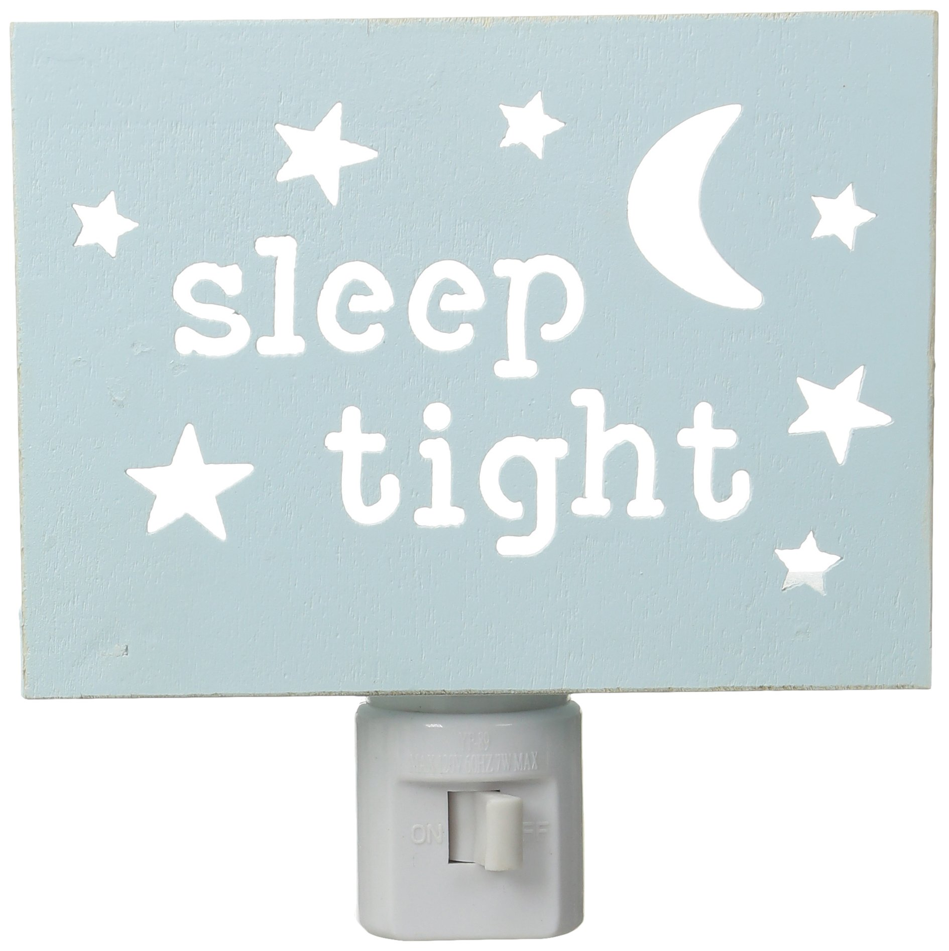 Mud Pie Baby Moon and Stars Cut Out Wood Night Light, Blue