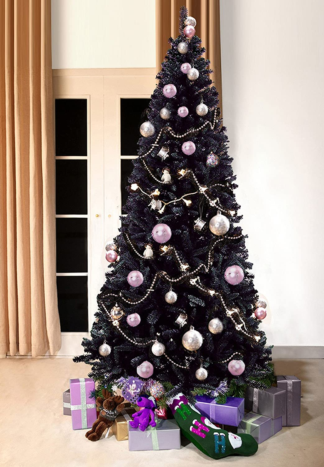 modern slimline artificial christmas trees black bergen fir 7 ft tall 210cm slimline 34 ft wide modern stylish contemporary quality xmas trees - Black Christmas Tree With Purple Decorations