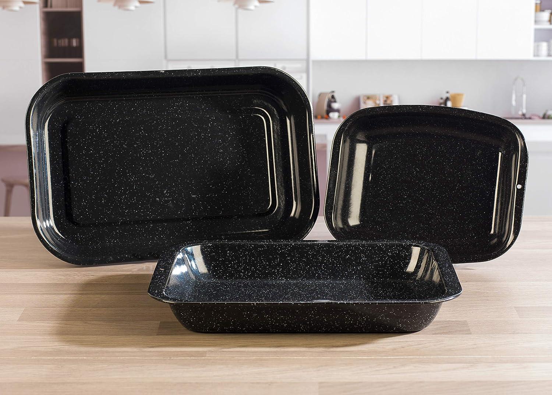 30 x 39 x 5cm Russell Hobbs Bandeja para Horno Esmalte vitrificado Acero al Carbono 3 Piece Roasting Set