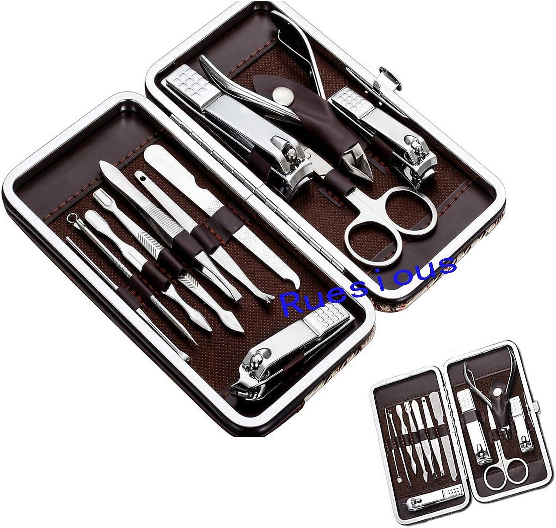 Ruesious 12pcs Kit de pedicura de manicura Tijeras de uñas Tijeras de uñas Kit con estuche de cuero: Amazon.es: Bebé