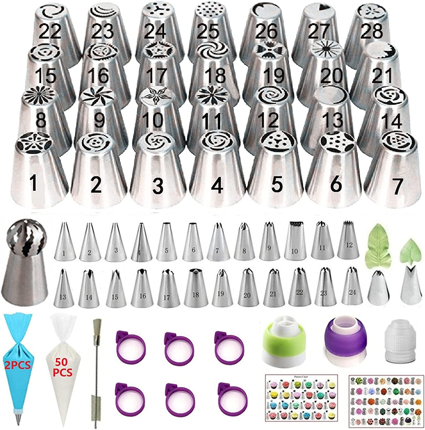 YOQXHY 120 Pcs Russian Piping Tips Set with 28 Numbered Russian Tips,24 Numbered Icing Tips,1 Ball Tip,2 Leaf Tips,Pattern Chart,52 Pastry Bags,3 Couplers,6 Bag Ties for Cake Decorating