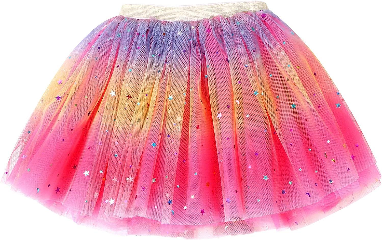 Rysly Girls Sparkle Tutus Princess Ballet Dance Layered Tulle Tutu Skirts,2-7T