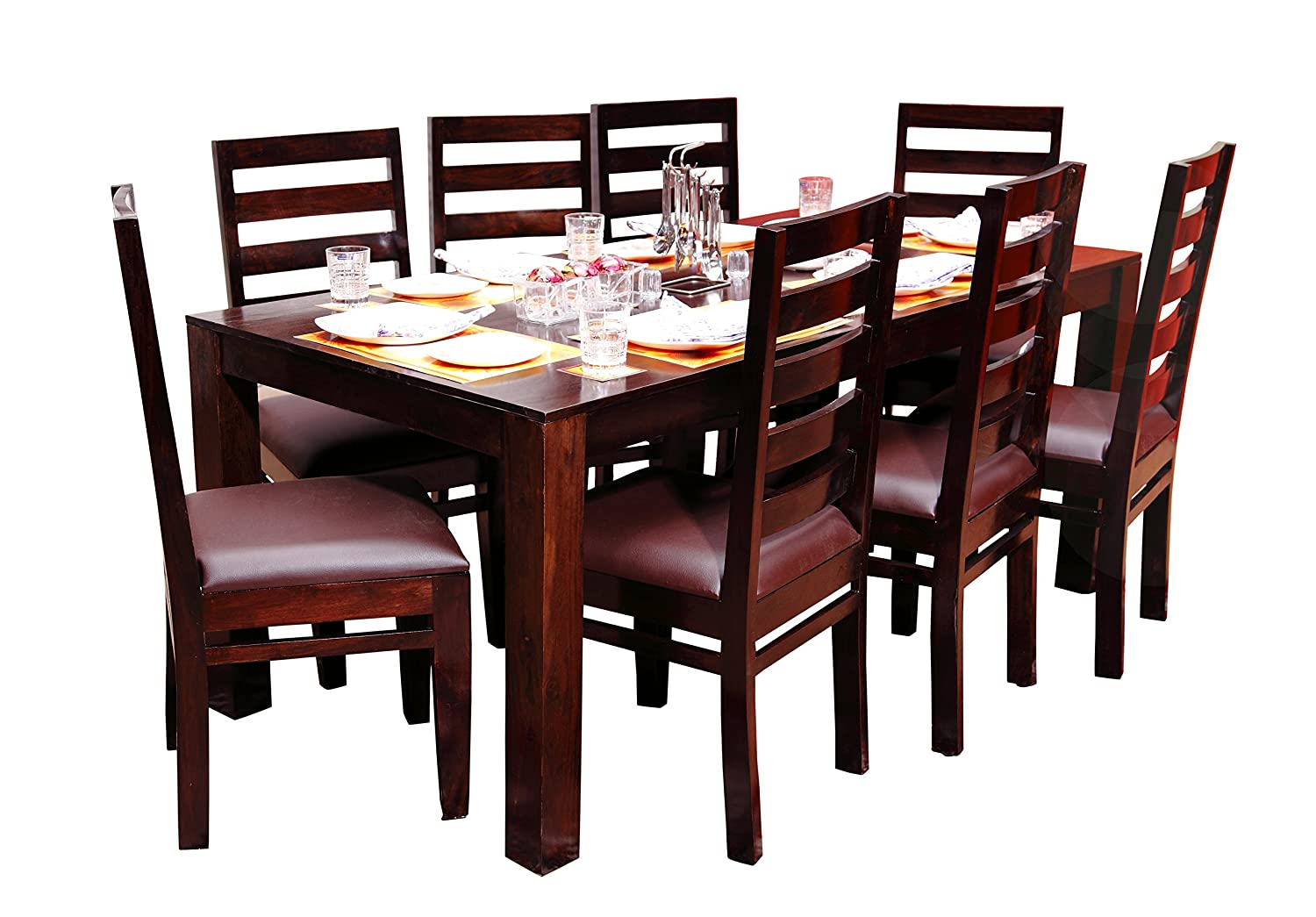 8 Chair And Table Modern Wooden Dining Table Set Solid Seesham Wood Amazon In Home Kitchen