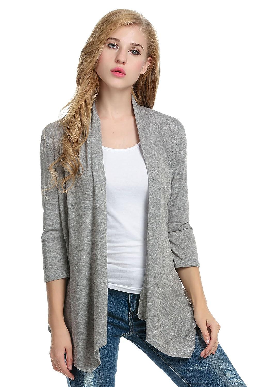 Meaneor Women's Basic Long Sleeve Open Drape Cardigan Sweater