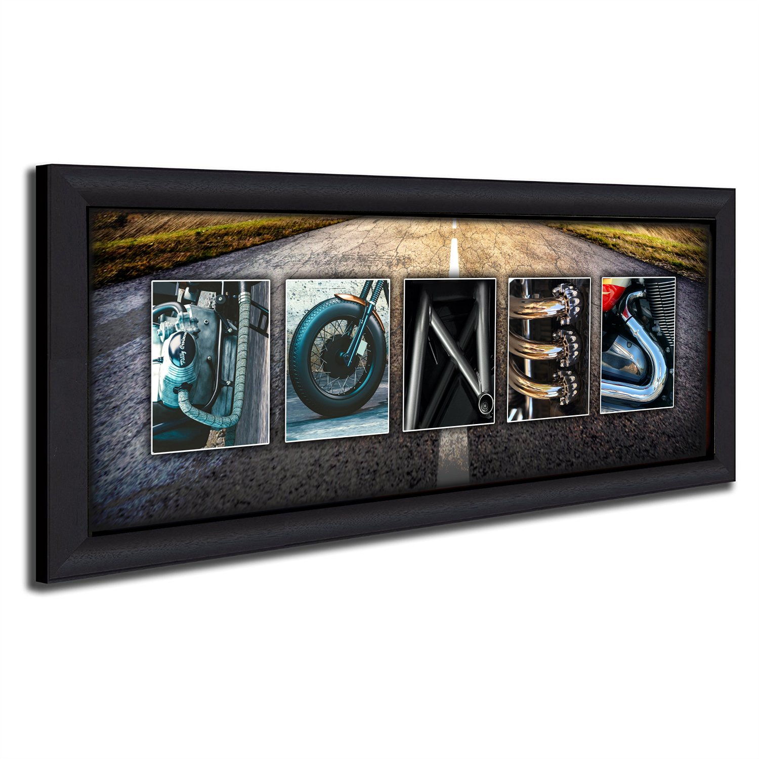 Personalized Motorcycle Harley Name Art (13.5''x32.5'' Framed Canvas) by Personal Prints