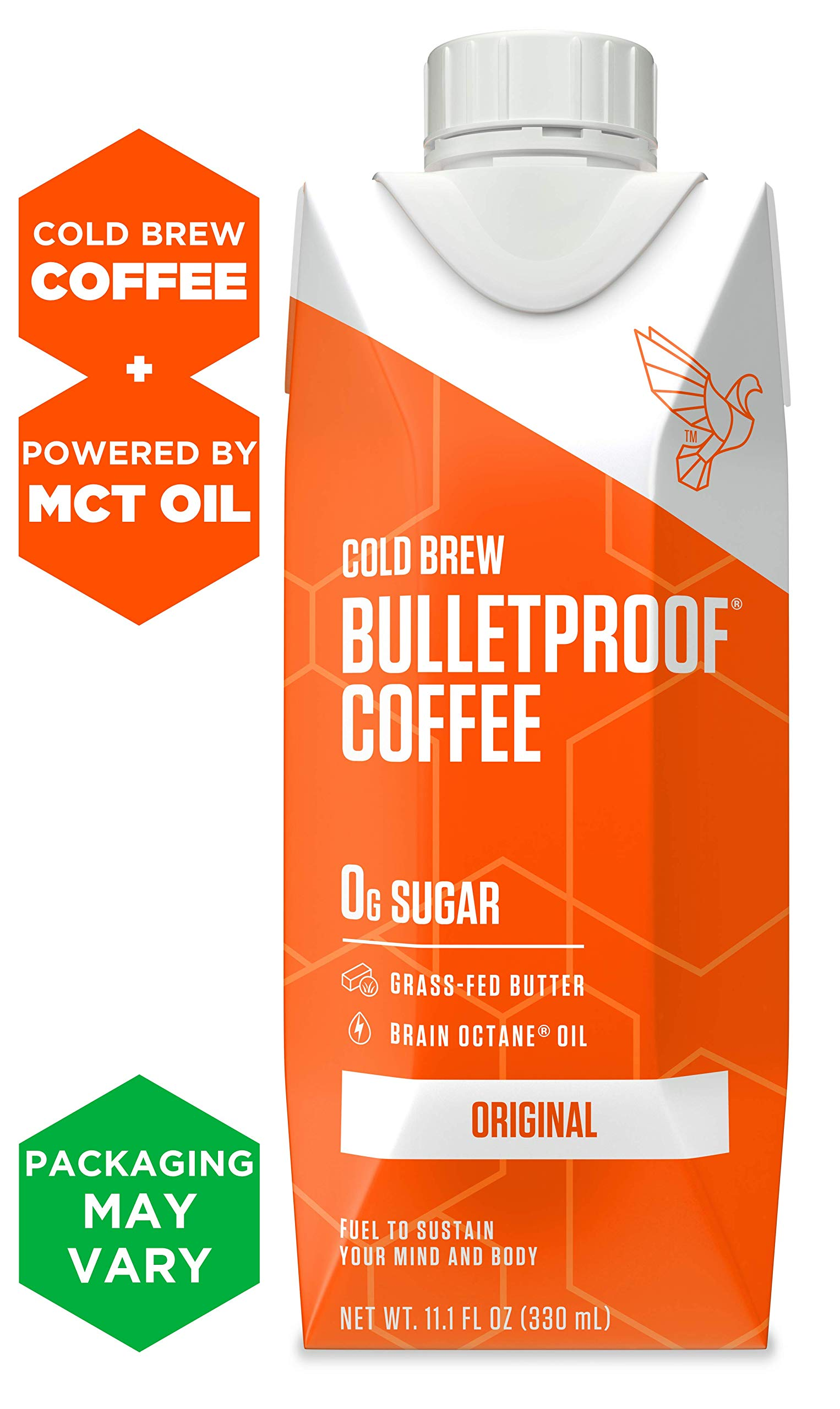 Bulletproof Cold Brew Coffee, Original Flavor, Keto Friendly, Sugar Free, with Brain Octane oil and Grass-fed Butter (12 Pack)