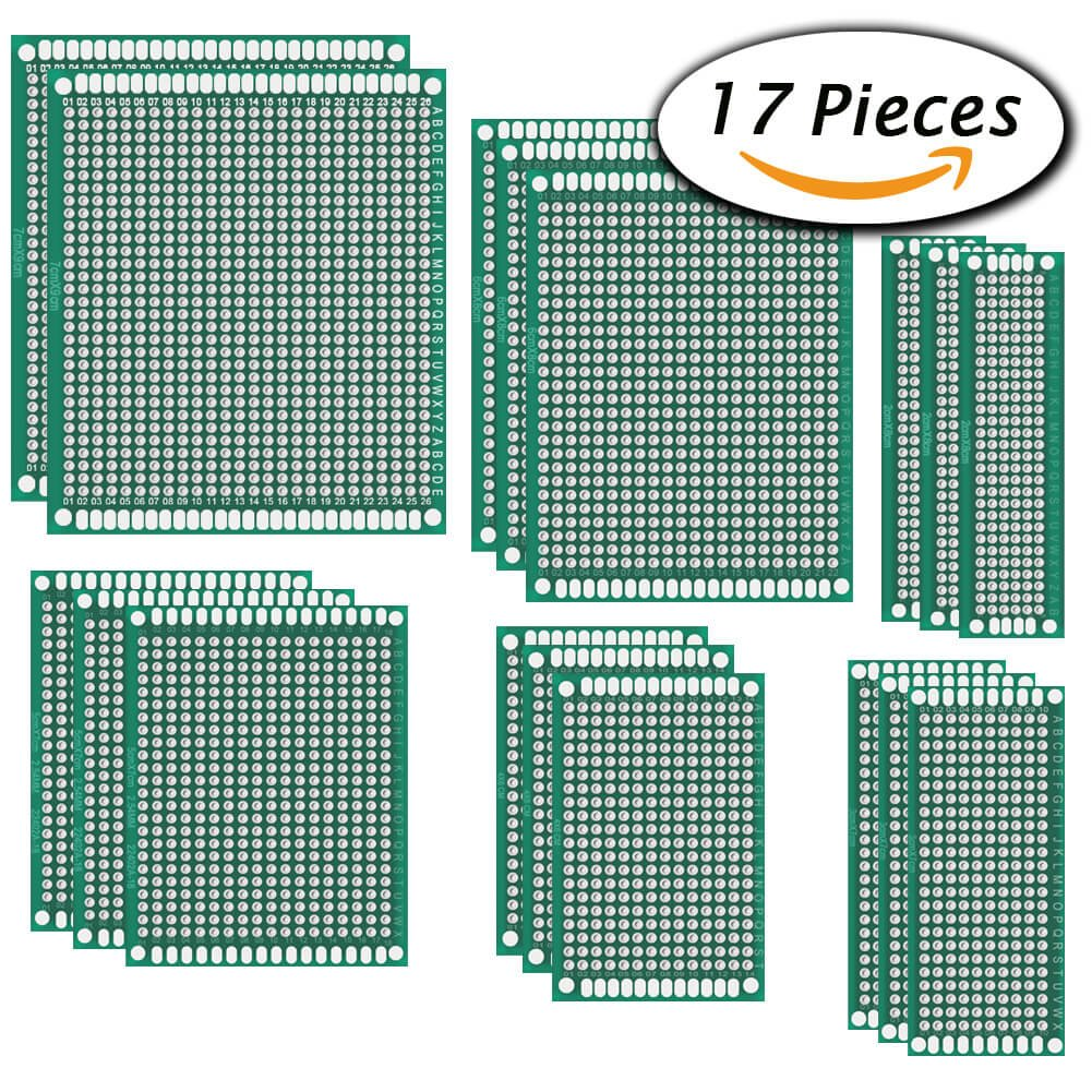 Paxcoo 17 Pcs Double Sided Pcb Board Prototype Kit For Diy 6 Sizes High Quality 2pcs Breadboard Printed Circuit Panel Industrial Scientific