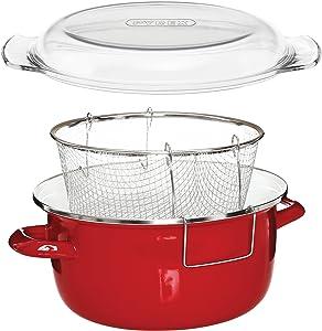 Premier Houseware 5 L Deep Fryer With Pyrex Lid, 16 x 33 x 27cm - Red