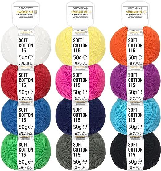 100% algodón mezcla de colores - 600g (12 x 50g) - Oeko-Tex Standard 100, lanas certificadas para punto y ganchillo ...