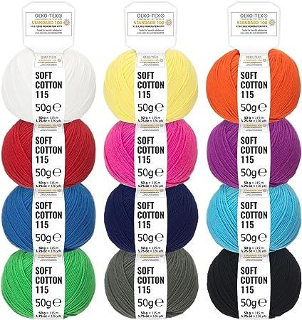 100% algodón mezcla de colores - 600g (12 x 50g) - Oeko-Tex Standard 100, lanas certificadas para punto y ganchillo - Set de hilo de algodón en 12 colores de fairwool: Amazon.es: Hogar